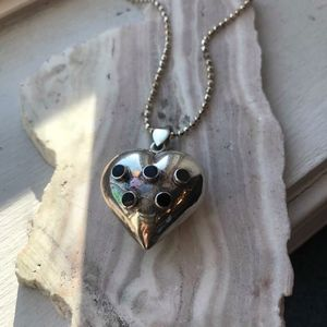Large Sterling Silver onyx heart necklace